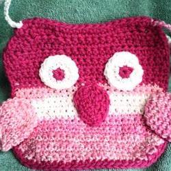 Crocheted Pink Owl Baby Bib